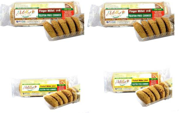 e-Millet Gluten Free Finger Millet and Foxtail Millet Cookies pack of 90g x 4 nos Cookies