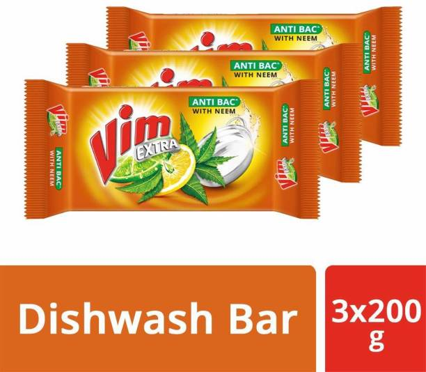 Vim Anti Bac Dishwash Bar, Neem, Removes 99% Harmful Bacterial Germs From Utensils, Dishwash Bar