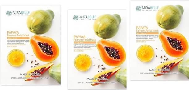 Mirabelle Papaya fainess Facial Sheet Mask (25ml Each pack of 3)