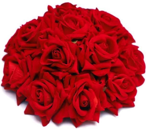 Kidzoo Full Juda Bun Hair Artificial Gajra Red Rose flowers Bun for Wedding and Parties For Girls & Women Hairs Decoration Accessories (Red Rose) Bun