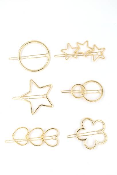 AL MARJAN Hair Clips in Shapes Pack of 6 Rectangle Star Heart Triangle for Girls & Women Golden Hair clips Hair Clip