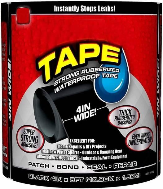 Tradeone Super Strong Flex tape Waterproof Rubberized Tape Stop Leaks Seal Sealant Repair Tape to Stop Leakage of Kitchen Sink, Toilet Tub, Water Tank, Pipe Instantly - Black 10 cm Anti Slip Tape