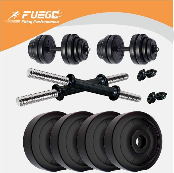FUEGO 10 kg HOME GYM FOR FITNESS ,10KGS DUMBELL SET, FOR MEN & WOMEN, 2.5KGS X 4 AND 14'' DUMBBELL RODS Home Gym Combo