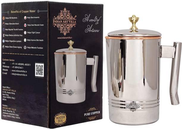 IndianArtVilla 2 L Water Steel Copper Jug with Brass Knob for Home, Kitchen, restaurants- Jug