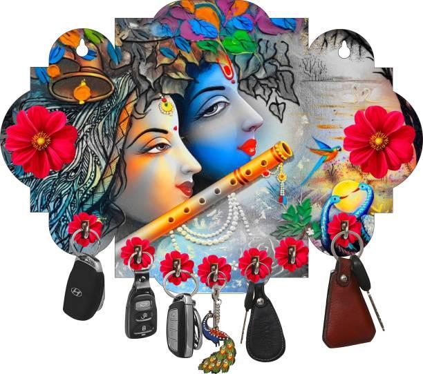 Brothers Creation Radha Krishna Beautiful Home Wooden Key Holder Wood Key Holder