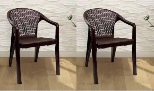 Anmol TYCON BROWN SET OF 2 CHAIR FULLY COMFORT nd weight bearing capacity 150 kg outdoor chair Plastic Outdoor Chair