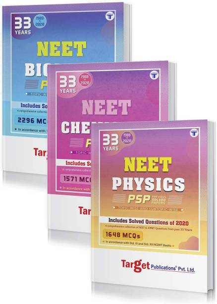 33 Years NEET And AIIMS & AIPMT PCB (Physics, Chemistry, Biology) Chapterwise Previous Year Solved Question Paper Books (PSP) | Topicwise MCQs With Solutions | 1988 To 2020 | Smart Tool To Crack NEET Exam (Paperback, Content Team At Target Publications)