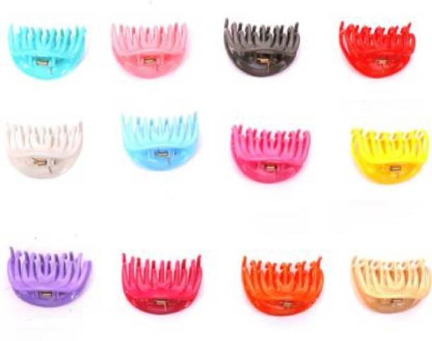 AGS MART UNBREAKABLE HAIR CLUTCHER BEAUTY FOR GIRLS & WOMEN( SET OF 12 PIECES) Hair Claw (MULTICOLOR) HAIR ACCESSORIES Rubber Band
