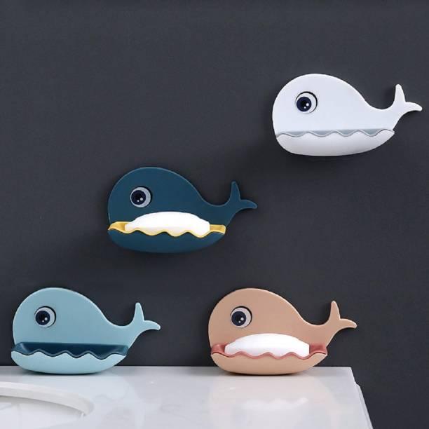 PRO99S Leak Proof Self Draining Double Layers Fish Shape Plastic Adhesive Waterproof Wall Mounted Bar Soap Dish Holder Organizer Rack for Bathroom (13 x 7.5 x 8.8 cm, Random Color)