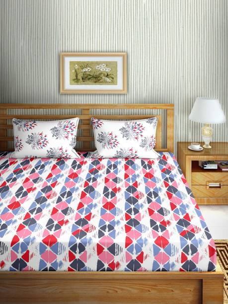 BELLA CASA 150 TC Cotton Double Floral Bedsheet