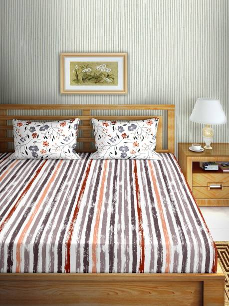 BELLA CASA 150 TC Cotton Double Striped Bedsheet