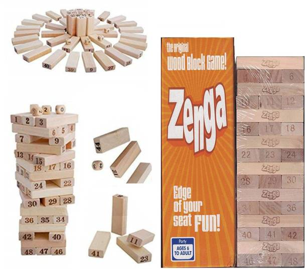 Bestie Toys Jenga Tumbling Tower - 48 Piece Wooden Number Block construction