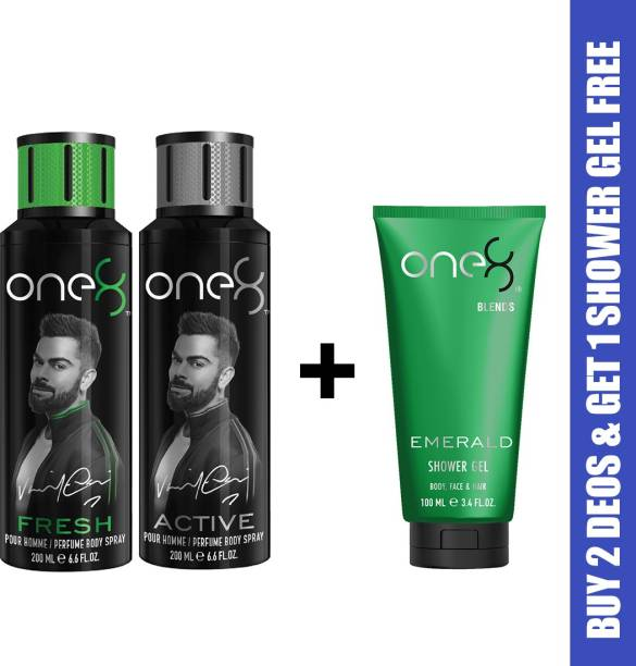 one8 by Virat Kohli One8 Combo Buy 2 Deo's (Active+Fresh) and Get 1 Shower Gel Free (Emerald) Deodorant Spray  -  For Men