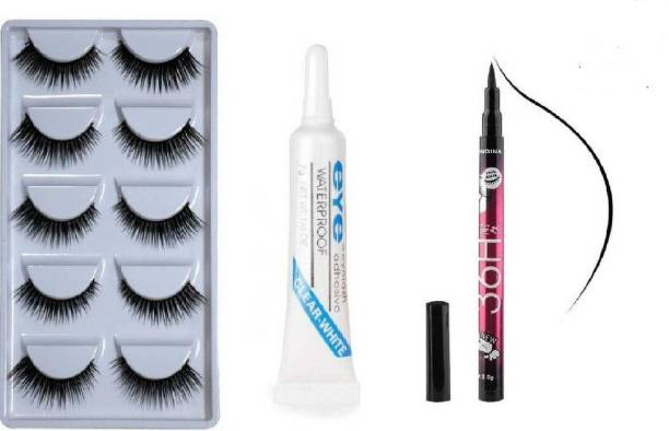 CRISTEN 5 Pair False Eyelashes, Glue, and 36 Hrs Black eyeliner (7 Items in the set) (Pack of 7)
