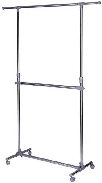 Vastra Steel Floor Cloth Dryer Stand Stainless Steel Double Pole Portable Clothes Rack Foldable Garments Hanging Stand Adjustable Laundry Drying Rack Hanger, Storage Rack with Wheels- Silver Color