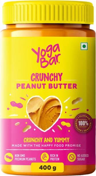 Yogabar Crunchy Peanut Butter 400g   Sweet, Salty and Crunchy   Non GMO Peanut Butter  Rich in Protein - 400g 400 g