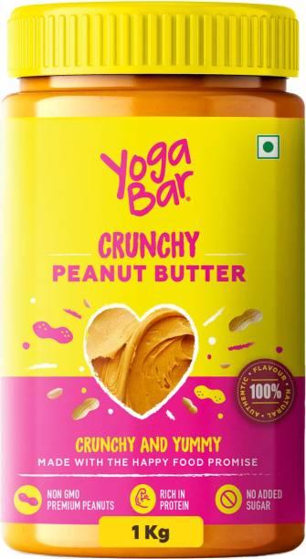 Yogabar Crunchy Peanut Butter 1Kg   Sweet, Salty and Crunchy   Non GMO Peanut Butter  Rich in Protein - 1Kg 1 kg