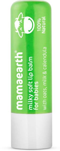 MamaEarth 100% Natural Milky Soft Lip Balm for Kids, Babies for 12 Hour Moisturization, with Oats, Milk & Calendula 4g Natural