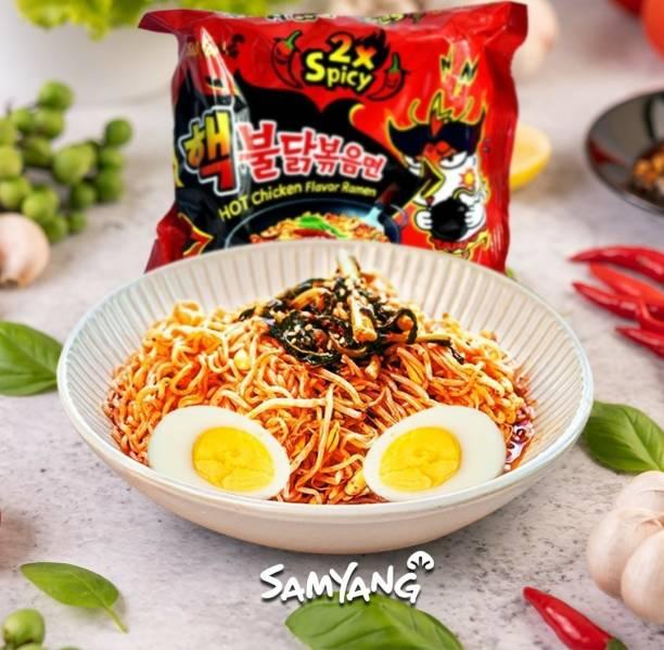 Samyang 2X Spicy Bulduk Hot Chicken Flavour Instant Korean Noodles , 2X140 gm Instant Noodles Non-vegetarian