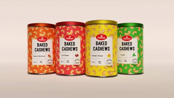 Haldiram's Cashew Baked 150 g X 4 Tin Cashews