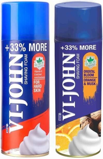 VI-JOHN VIJOHN Shave Foam Hard & Musk Orange 400GM (PACK of 2)