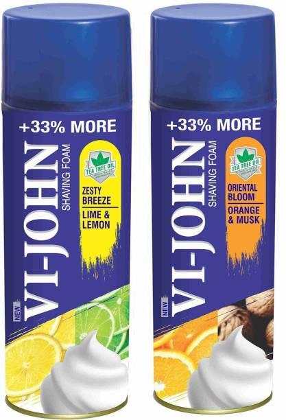 VI-JOHN VIJOHN Shave Foam Lemon Lime & Musk Orange 400GM (PACK of 2)