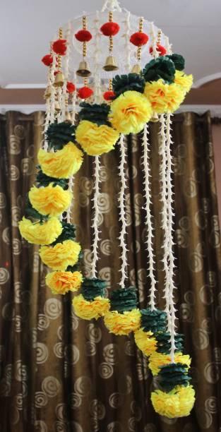 DilSe Artificial Flower Chandelier, Zhoomar Hanging, Diwali Decoration Multicolor Marigold Artificial Flower
