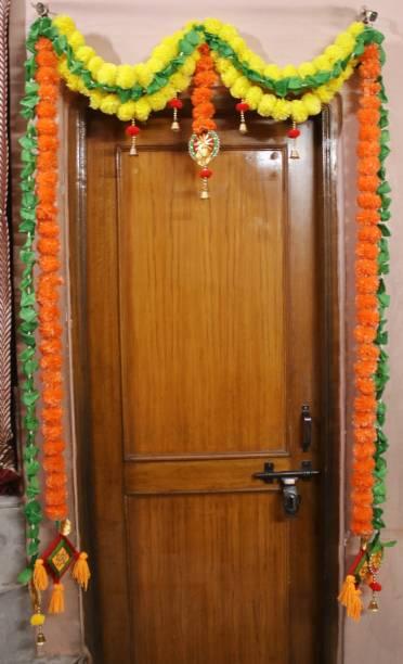 DilSe Handicraft Hand Made Artificial Kolkatta Genda Phool Latkan Marigold Artificial Flower Door Hanging, Diwali Decoration Multicolor Marigold Artificial Flower