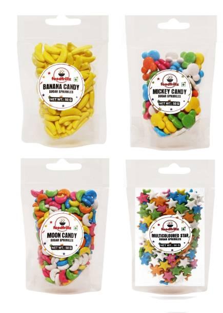 foodfrillz Banana, Moon, Mickey & Star Candy Kids Sprinkles for cake decoration, Cake Sprinkles Combo Pack of 4 Sprinkles