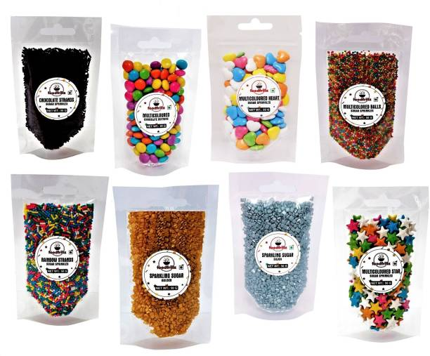 foodfrillz Sugar Sprinkles for Cake Decoration - Choco Strands, Choco Buttons, Muti Coloured Balls, Rainbow Strands, Star, Heart, Sparkling Sugar-golden and silver), 50 g each, Pack of 8 Sprinkles