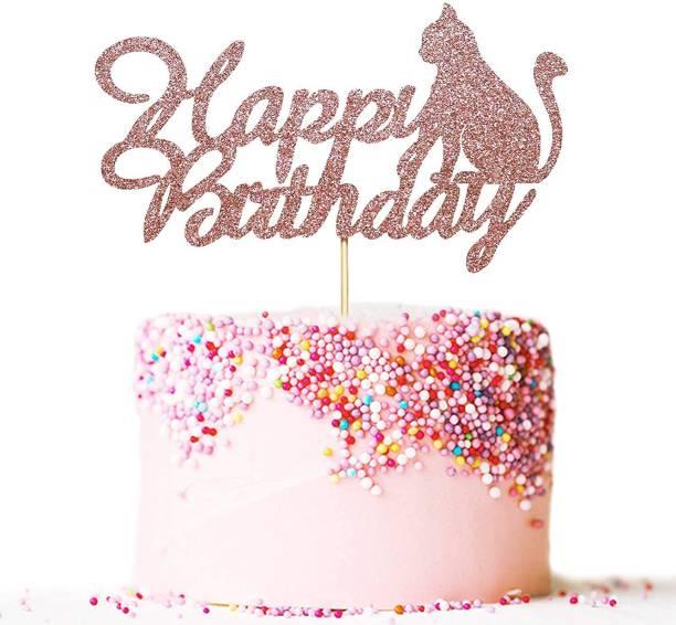 ZYOZI Happy Birthday Cake Topper Rose Gold Glitter Cat Cake Topper Cat Theme Birthday Party Cake Decoration Cake Topper