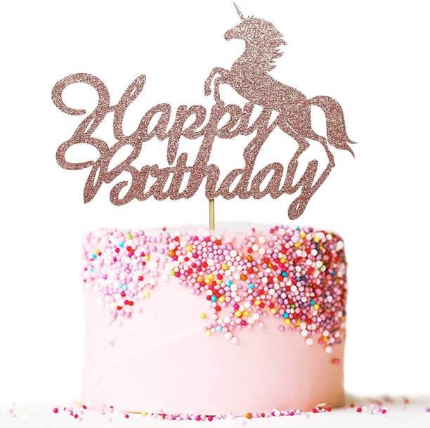 ZYOZI Happy Birthday cake Topper Rose Gold Glitter Unicorn Theme Boy Girl Children Birthday Party Cake Decoration Cake Topper