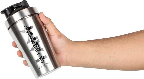 Fitastic Stainless Steel Shaker Bottle with Steel Mixing Ball(I AM Determined) 500 ml Shaker