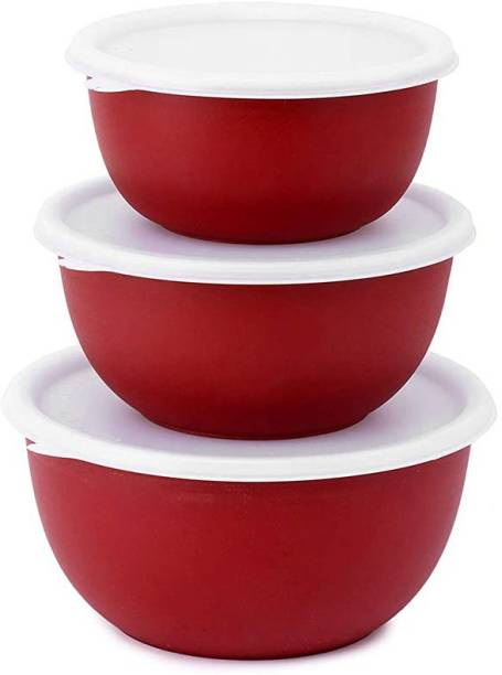 Zaib Microwave Safe Plastic Coated Euro Bowls Set of 3 with lid for Reheating & Storage Container (Capacity: 800, 1400, 1700 ml) Stainless Steel Serving Bowl (Red, White, Pack of 3) Stainless Steel, Polypropylene Vegetable Bowl