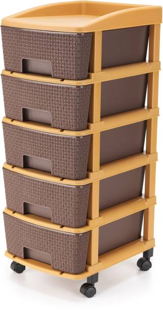 Flipkart Perfect Homes Studio Modular Drawer System Modular Drawer made of Virgin Plastic, Drawer Organizer for Home, Office, Parlor, School, Doctors, Home and Kids Foldable drawers organizers Box with wheel (5 XL, Browm colour) Plastic Free Standing Chest of Drawers