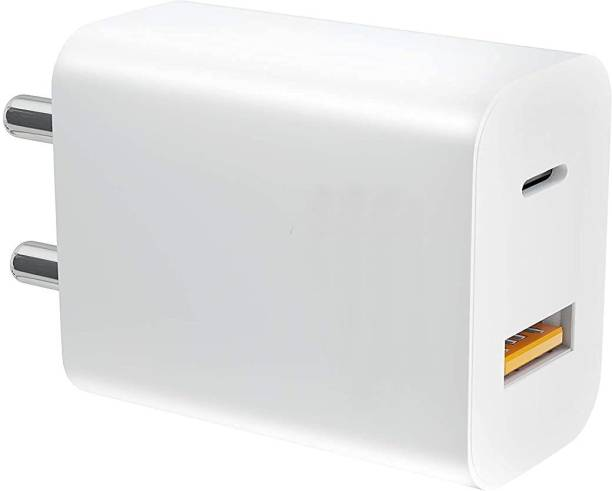 DEALZIA High Speed Super Quick Fast Universal Charger, Dual Output USB 3.0 & Type C Mobile 20W Charging Adapter (White) 2 A Multiport Mobile Charger with Detachable Cable
