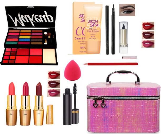 LJ LUJO All in One Makeup Kit Gift Set,High Quality Eyeshadow, Waterproof Black Eyeliner Pen,Foundation,3 Lipsticks,Kajal,Lip Liner,Puff,Mascara,Perfect for Party makeup Casual makeup Wedding makeup With Makeup Box (Set Of 11Pcs)