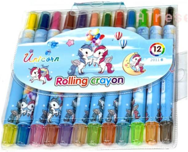 Ajauni Rolling Crayons 12 Colors For Kids