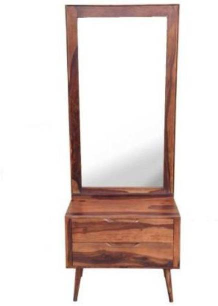 o my furniture Wooden Dressing Table for Bedroom with Rectangular Long Mirror | Decorative Dresser with 1 Drawer Storage | Sheesham Wood Solid Wood Dressing Table