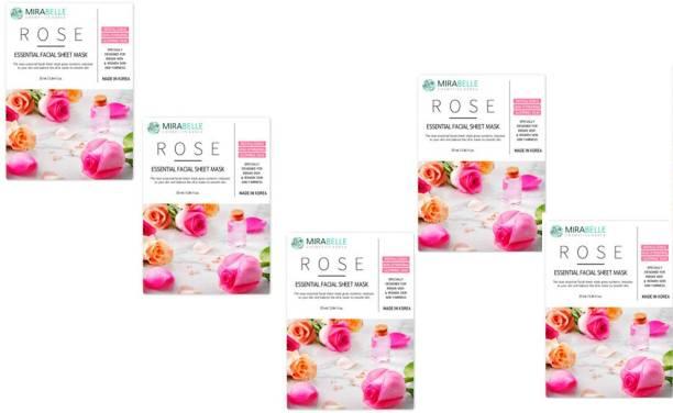 Mirabelle Rose Essenital Facial Sheet Mask (25ml Each pack of 5)