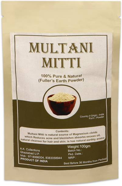 aK collection 100% Natural Multani Mitti Fuller Earth Powder For Face Body And Hair, Acne And Pimples, Brightening Skin, Flawless Skin, For All Skin Type, For Men and Women 100g