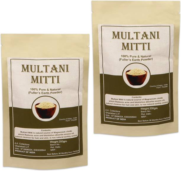 aK collection 100% Natural Multani Mitti Fuller Earth Powder For Face Body And Hair, Acne And Pimples, Brightening Skin, Flawless Skin, For All Skin Type, For Men and Women 400g (200g pack of 2)