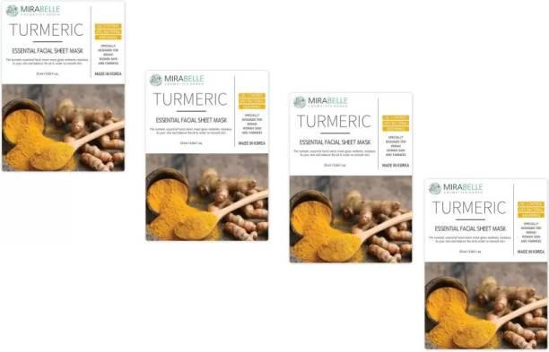 Mirabelle Turmeric Essenital Facial Sheet Mask (25ml Each pack of 4)
