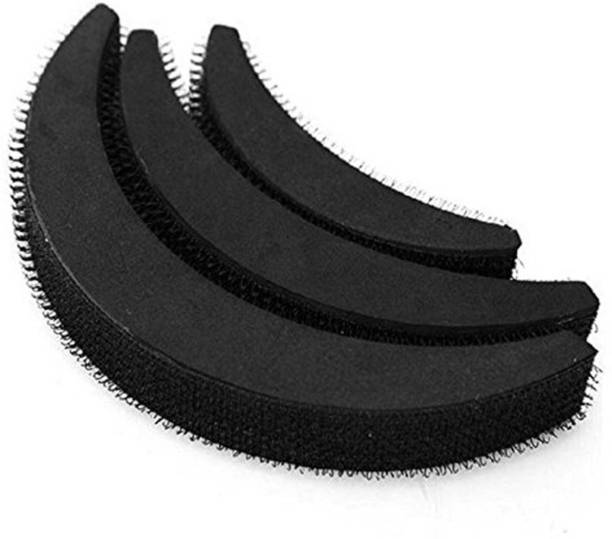 ASG Set Of 3pcs Banana Hair Puff Maker Volumizer Banana Bumpits Hairstyle Accessory for Girls & Women - Black Bun Clip
