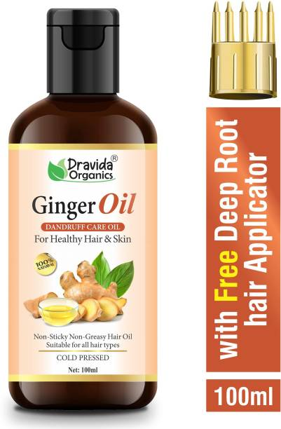 Dravida Organics Ginger Hair Oil - for Dandruff Care - with Comb Applicator - for All Hair Types - Non-Sticky & Non-Greasy Hair Oil - No Mineral Oil, Silicones, Synthetic Fragrance Hair Oil