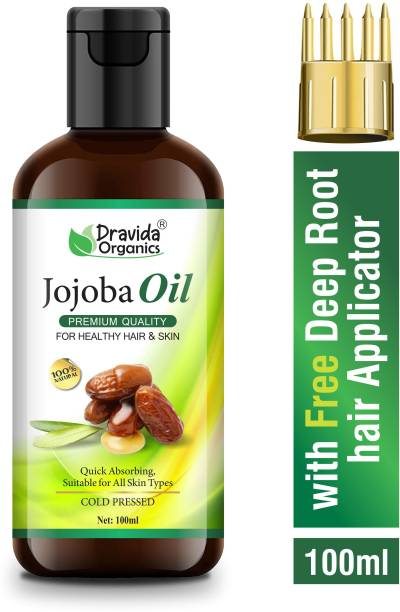 Dravida Organics Premium Grade Jojoba Oil with Vitamin E Hair Oil
