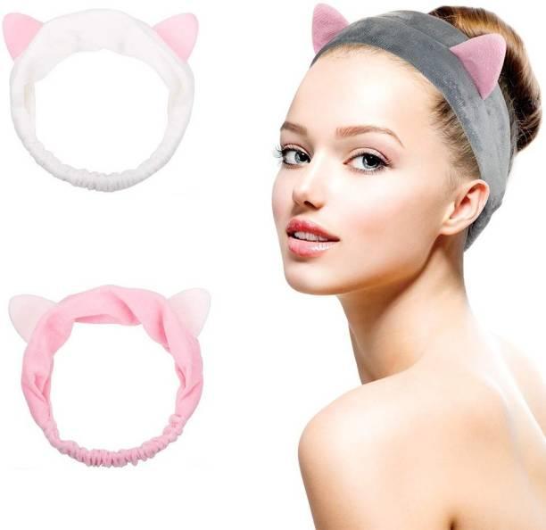 Faigy Beauty Cat Ears Headbands, Teenitor Elastic Women's Lovely Etti Hair Band, Wash Face Spa Headband-Washable Facial Band Makeup Wrap Headbands Makeup Headband