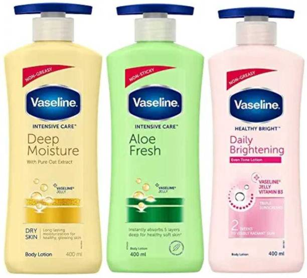 Vaseline Intensive Care Deep Moisture Body Lotion 400 ml , Intensive Care Aloe Fresh Body Lotion, with Aloe Extract, Non Greasy, Non Sticky Formula For Hand & Body for Normal Skin 400 ml andHealthy Bright Daily Brightening Body Lotion, For Healthy & Glowing Skin, 400 ml