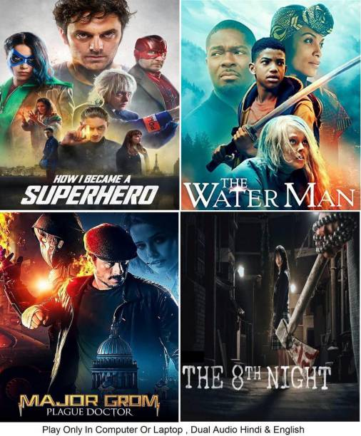 How I Became a Super Hero , The Water Man , Major Grom: Plague Doctor , The 8th Night ( 4 Movies ) in Hindi & English it's DURN DATA DVD play only in computer or laptop it's not original without poster HD print quality