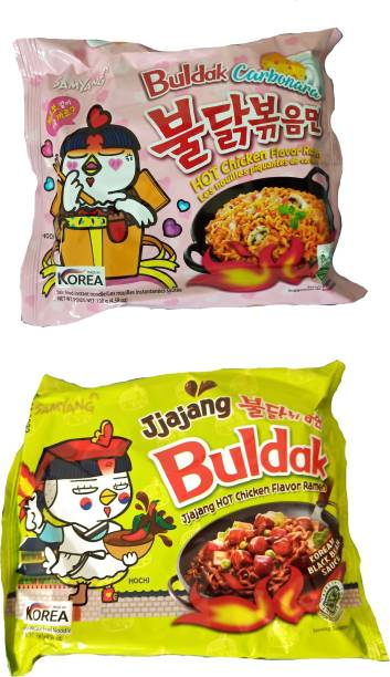 Samyang Hot Chicken Ramen Carbo & Jjajang Noodles 2 Instant Noodles Non-vegetarian